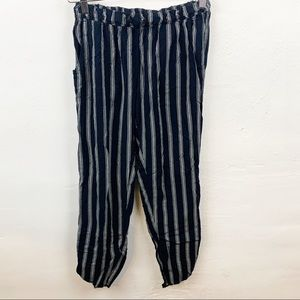 American Eagle l Blue Striped Cropped Pants